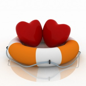 two hearts and life buoy and white background